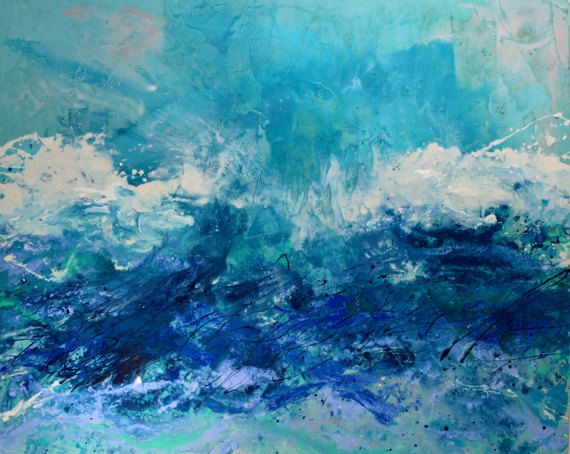 "Hand painted, Original artwork on canvas - Free shipping for a limited time   The artwork details  title: Catch the Waves  Total size: 60x48"" (approx 150x120cm) HUGE  Colours: Many shades of blue, teal, aqua and green were combinmed with white, indigo and hints of pale lavender.  Framing: stretched deep-edged canvas - ready to hang  Materials: acrylic, mixed media  by: Caroline Ashwood (signed on reverse) certificate of authenticity included  This artwork is a one off painting. You will…"