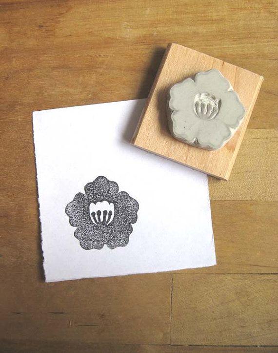 Japanese camellia hand carved stamp stamping hands