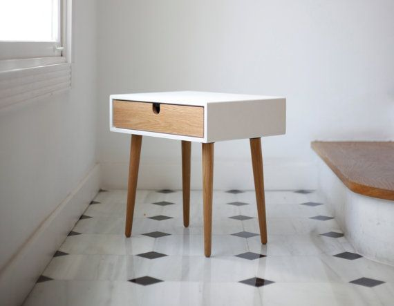 White nightstand / Bedside Table, Scandinavian Mid-Century Modern Ret ...