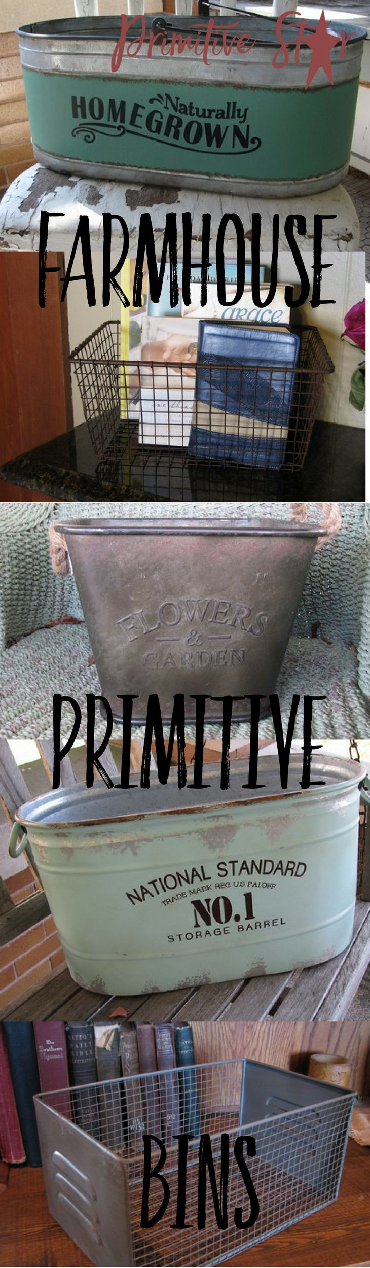 Storage and containers that look cute and rustic!   Check out the supply at PrimitiveStarQuiltShop.com