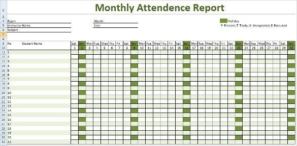 Monthly Attendance Report Tracking Template Download ...