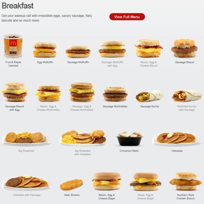 The McDonald's breakfast Picture Menu