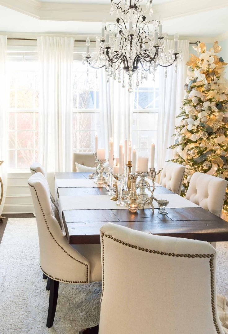 Candle centerpiece and other christmas dining room decorations