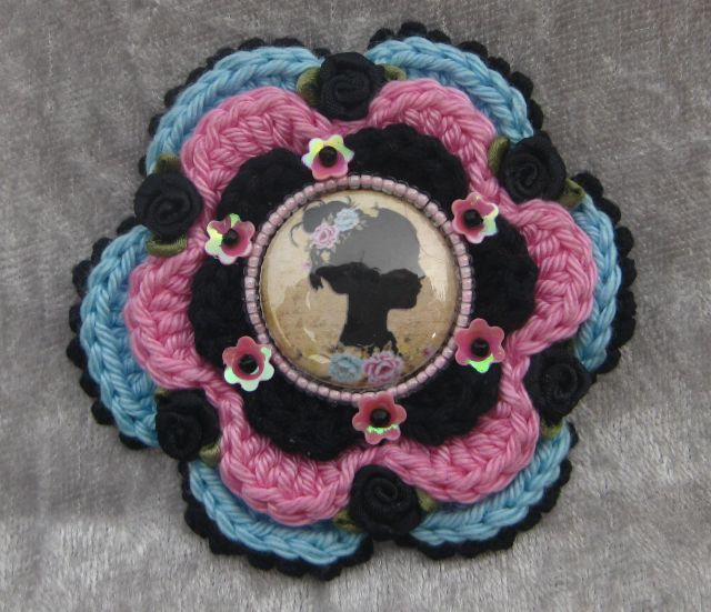 crochet flower - applique with button, satin roses,sequins & beads