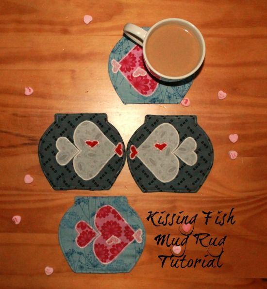 Valentines Kissing Fish Mug Rug Tutorial