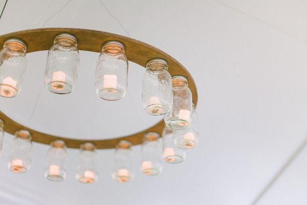 Mason Jar Chandelier - ceiling decor for a tented party with a rustic, country, or southern theme