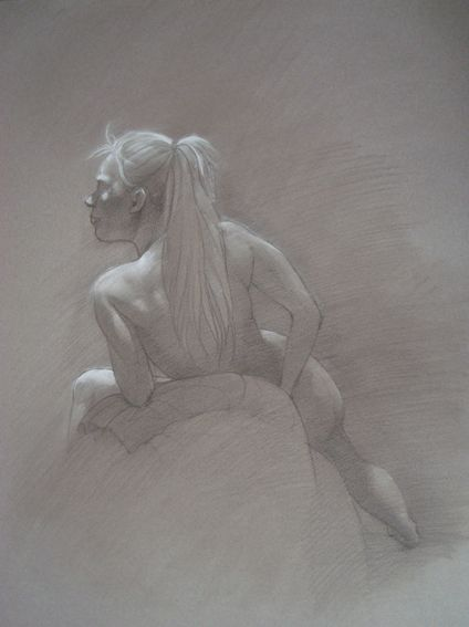 Leaning Back, by Cyprian Libera, pencil and chalk highlight on toned paper