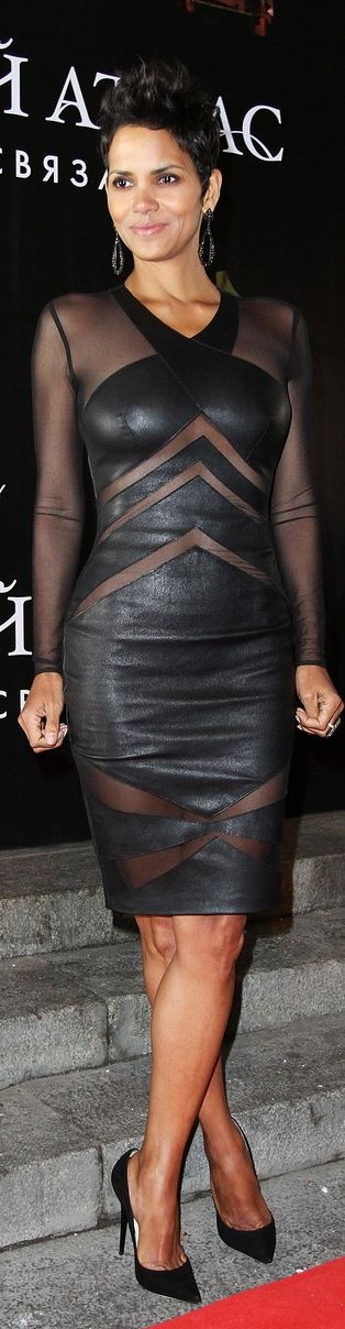 ❦ Halle Berry |in Catherine Malandrino's black leather cutout dress with sheer long-sleeves and chevron insets, from the Holiday/Resort 2013 Black Label collection.