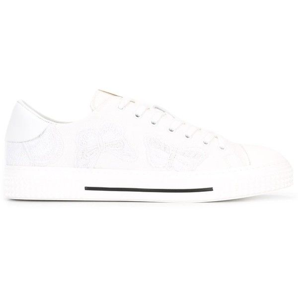 Valentino Garavani lace-up sneakers (1,590 CAD) ❤ liked on Polyvore featuring men's fashion, men's shoes, men's sneakers, white, mens white shoes, mens lace up shoes, mens round toe shoes, valentino mens shoes and mens white sneakers