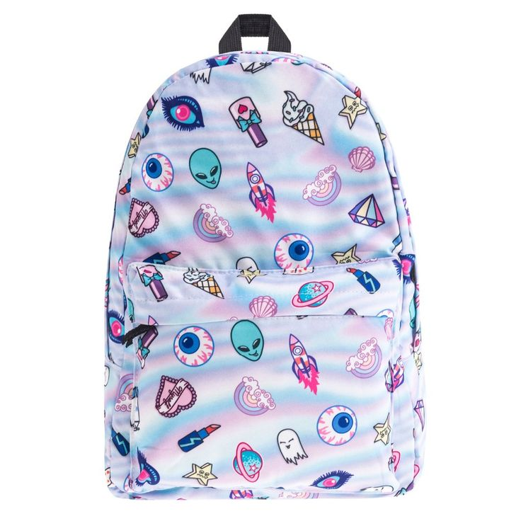 FREE Standard 12-20 day shipping included! Aliens and lipsticks and ghosts OH MY! It's time to step your backpack game way up my friends with this colorful, unique backpack. Perfect for space travel a