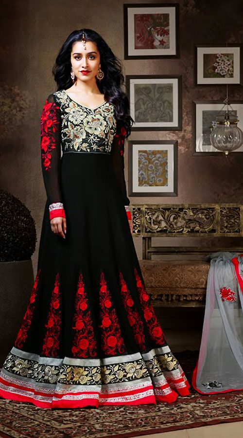 Shraddha kapoor in black floor length anarkali suit for Floor length suits