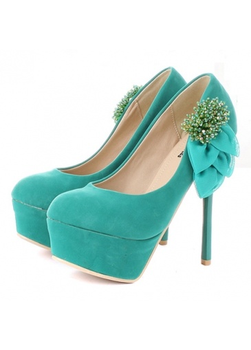 Graceful Beading Embellishment Patent Leather Green Heels For Prom at martofchina.com