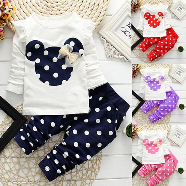 Giáng sinh 2017 mùa đông style quần áo trẻ em bé Sơ Sinh quần áo bộ cotton Minnie áo giản dị 2 cái bé girl quần áo bé bộ