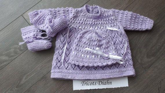 0 - 3 mois  3 pièces lilas   MISTY(patron precious newborn knits Etsy.com uk-shop) mais pour achat sur Etsy.com/ca/fr/shop/TricotsDiahn
