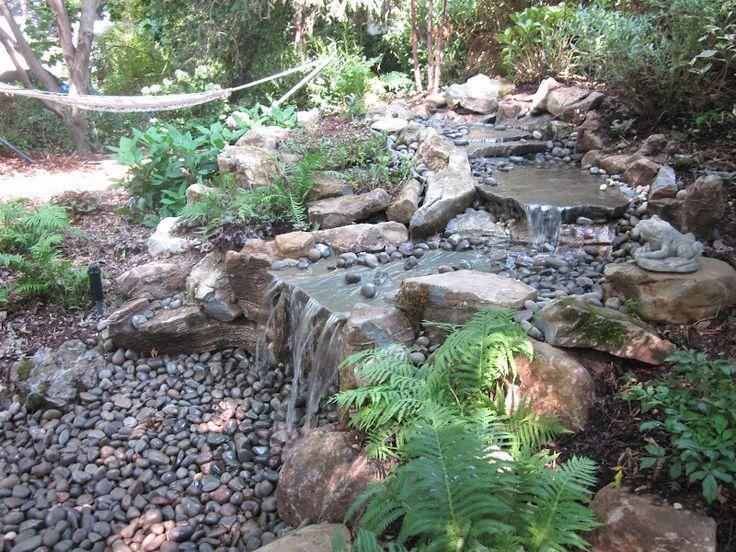 stream and moss rock pondless waterfall    greenislanddesign com  water