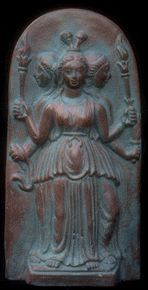Hecate - Greek goddess of the crossroads; most often depicted as having three heads (dog, snake, horse. Presides at 3-way crossroads.