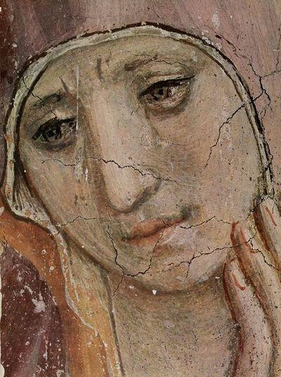 Fresken in San Marco in Florenz: Verspottung Christ, Detail: Truaernde Maria by Fra Angelico (15th C)