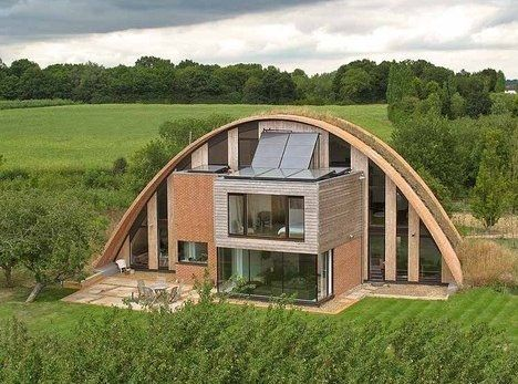 I'm not sure which specific certifications this has, but it's being described as 'Zero Energy', 'Zero Carbon', and 'Passive' in various articles. Maybe more interesting is the construction method - timbrel vaults. 'Crossway' home in the UK designed by Richard Hawkes.