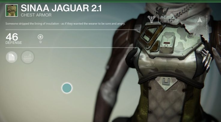 Sinaa Jaguar 2.1 is an uncommon Hunter Chest Armor manufactured by the Vanguard, and is part of the Sinaa Jaguar 2.1 armor set. In the Destiny First Look Al... #destiny