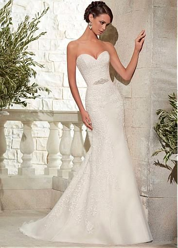 Image of Elegant Organza Sweetheart Neckline Mermaid Wedding Dress With Lace Appliques