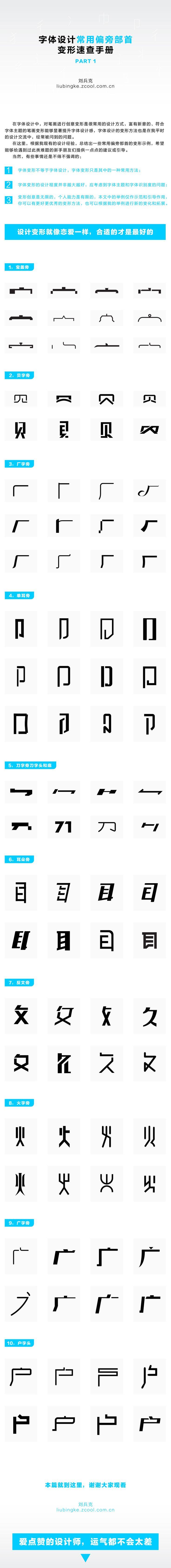 常用偏旁部首变形速查手册/1 字体 原创/自译教程 刘兵克 - 设计文章/教程分享 - 站酷 (ZCOOL)