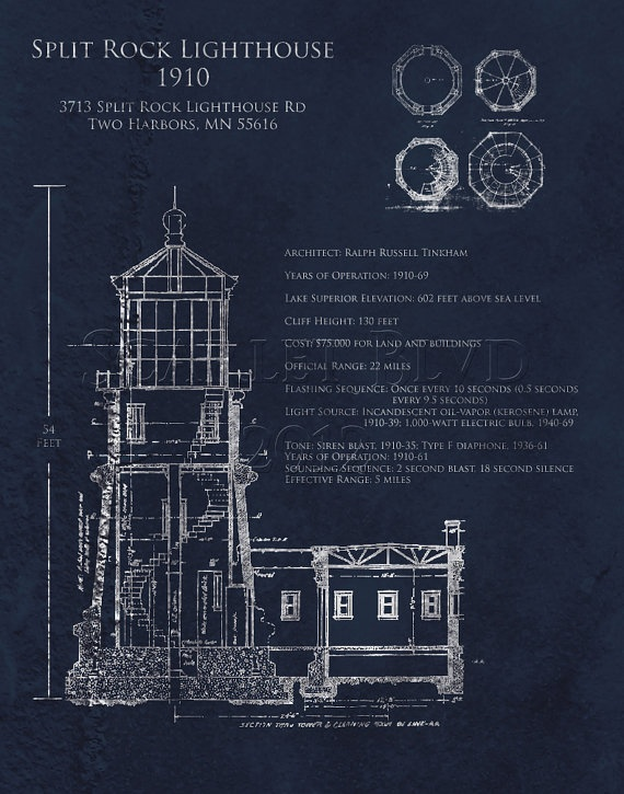 17 best architectural blueprints images on pinterest architectural blueprint art print split rock lighthouse by scarletblvd 3500 malvernweather Gallery