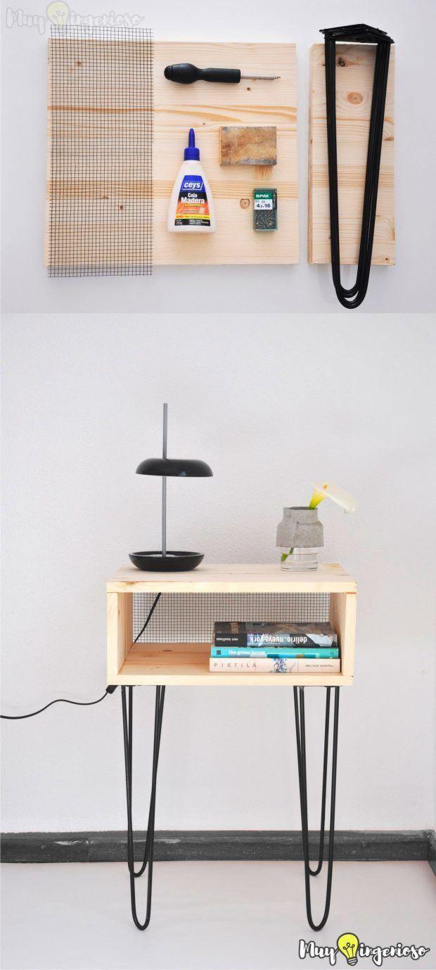 DIY Hairpin Legs Side Table - Mesa DIY con pies hairpin