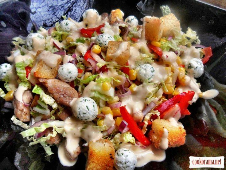 Гріховно смачний салат з пекінської капусти, курки, крутонами, і оригінальною заправкою