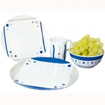 Melamin Campinggeschirr Set 16-teilig CUBIC-BLUE, 16-teiliges Geschirrset aus 100% Melamin im wunderschönen Cubic – Blue -Design.