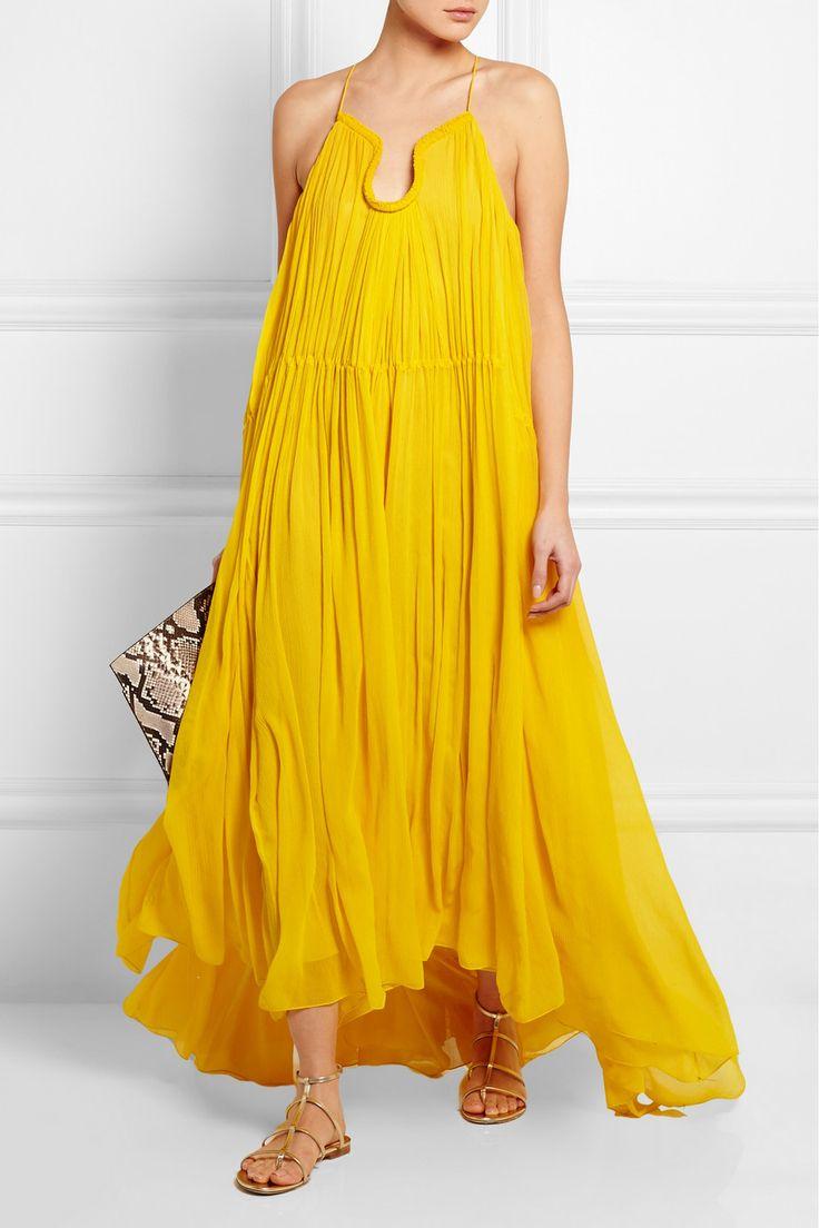 Chloé|Crinkled silk-georgette gown|NET-A-PORTER.COM