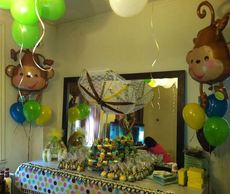 71 best monkey boy baby shower birthday party ideas images on pinterest boy shower baby boy - Monkey balloons for baby shower ...