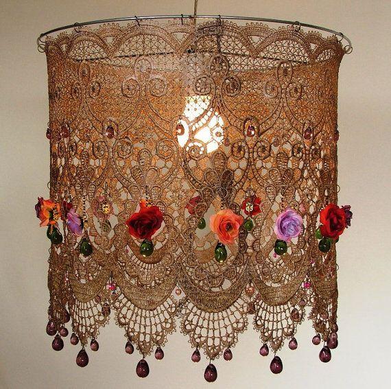 Colgantes color Tea Rose pantalla grande encaje iluminación de techo