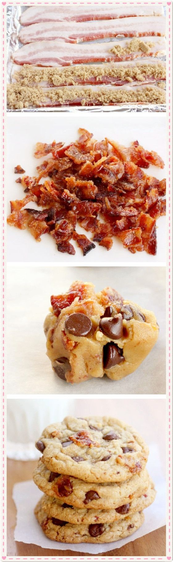 Candied Bacon Chocolate Chip Cookies...heart attack waiting to happen. But I'm curious if they taste good.
