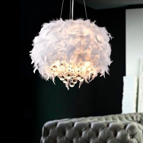 Ikea Ps 2014 Pendant Lamp Like The Death Star White Silver: Iglesias Fluffy White Feathers And Crystal 3-light Pendant