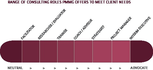 Diverse range of consulting roles Painefree Mission Management Group (PMMG) can play to meet client needs. Our flexibility is our competitive advantage. We provide both long-range planning and hands-on assistance with everyday management challenges.