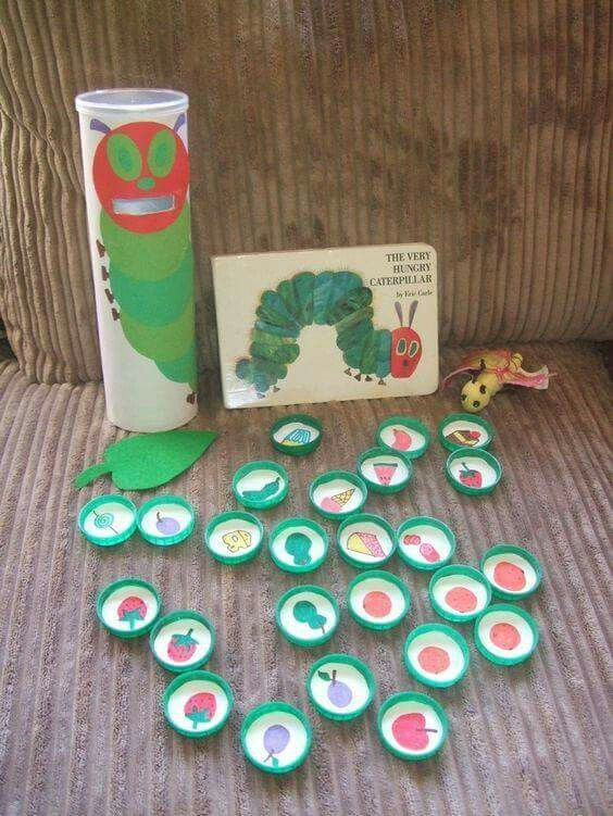 What a genius idea! Made from a crisp tube and milk bottle lids!  From: http://pin.it/eO5mvyO