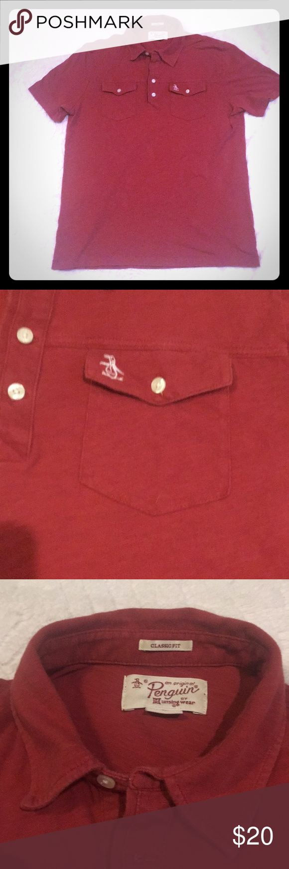 Men's Penguin Polo Shirt Men's Penguin brand polo shirt.  Size medium.  Used but no flaws.  Maroon color. Quick shipping! Original Penguin Shirts Polos