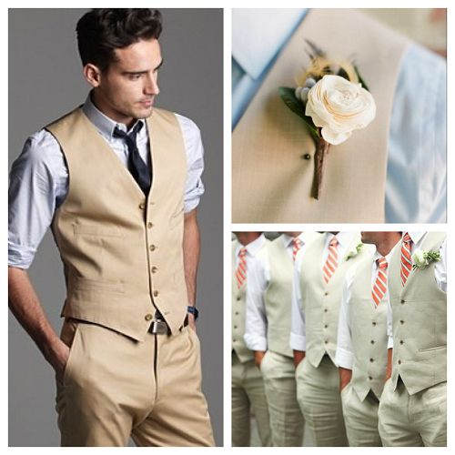 Love the idea of having all of the men in simply dress pants, dress shirt with the sleeves rolled up, a tie, and a vest!  Very classy but still relatively comfortable!  :)
