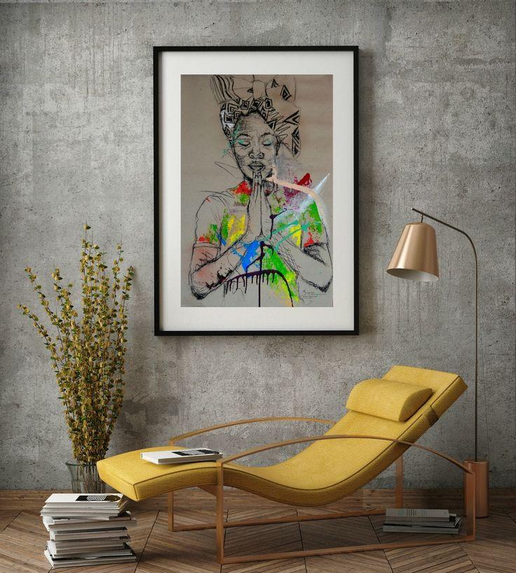 Artwork 'Women's identity X' by African artist M. Chikwemba. Female portraits. Art in interior design: bedroom/ living room decor