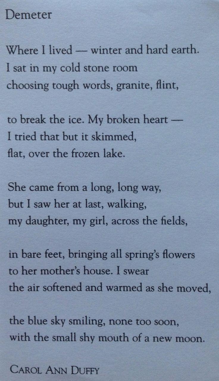 Carol Ann Duffy poem, Demeter