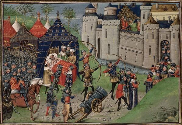 Mort de Bertrand Du Guesclin au siège de Chateauneuf-de-Randon (1380) Jean d'Wavrin, Chronique d'Angleterre (~1480)