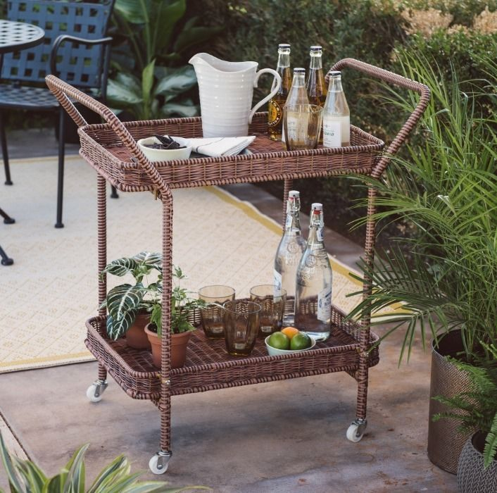 Wicker Serving Cart Home Bar Cart In/Outdoor Tea Beverage Server All Weather  #CCC #Tropical