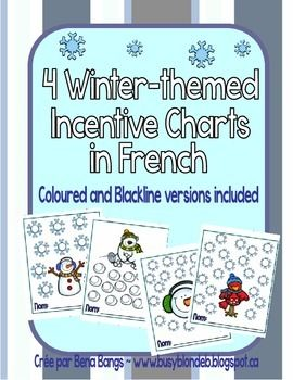 Here are 4 different winter-themed incentive charts for you to use in your classroom. The first has 10 spots for stickers (or drawn-in smiley faces), the second has 15 spots, and the last two have 20 spots each. Included are both the colour and blackline versions.