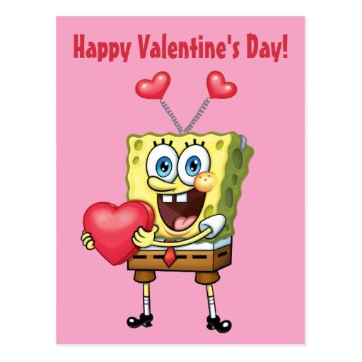 SpongeBob Happy Valentine's Day Postcard
