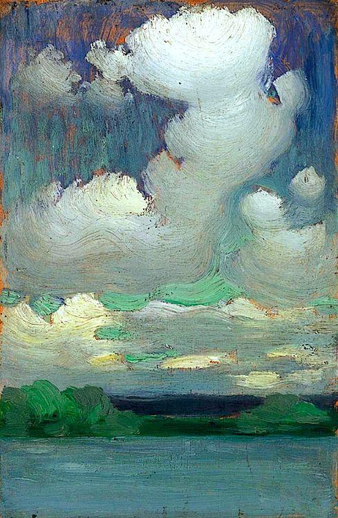 bofransson: ca 1905 Vaszary János (Hungarian; 1867-1938) ~ Lake Balaton with Wreathing Clouds