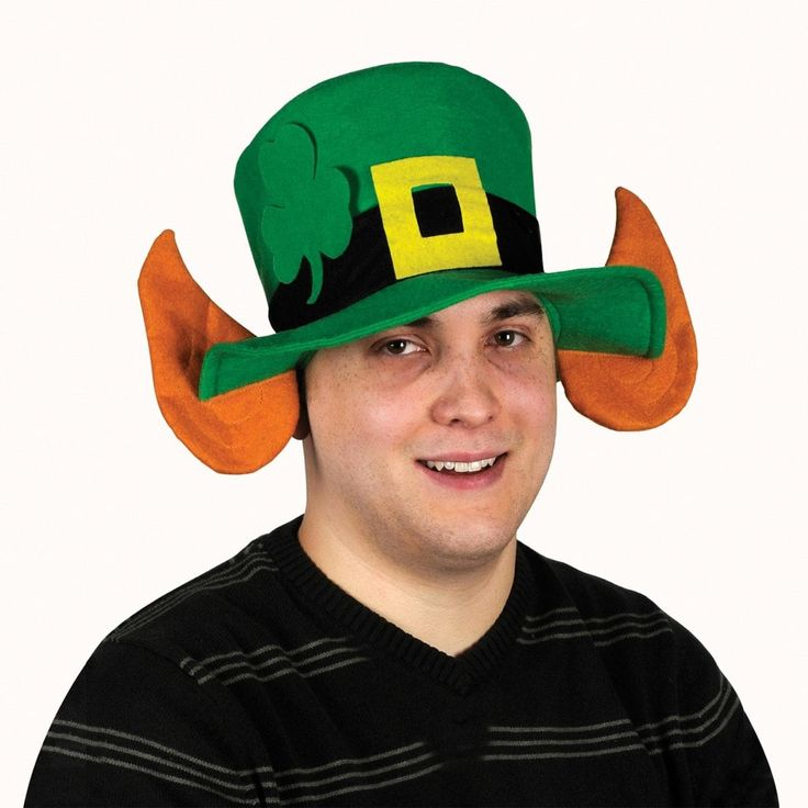 Pack of 6 Green Felt Leprechaun Hat with Shamrock and Ears - Adult Sized, Adult Unisex, Size One Size Fits All