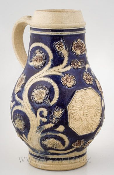 "Westerwald, Saltglaze Jug, Imperial Eagle  Circa 1688, ""GR""  Incised and Applied Ornamentation, Cobalt.  Antiques Associates, West Townsend, MA"