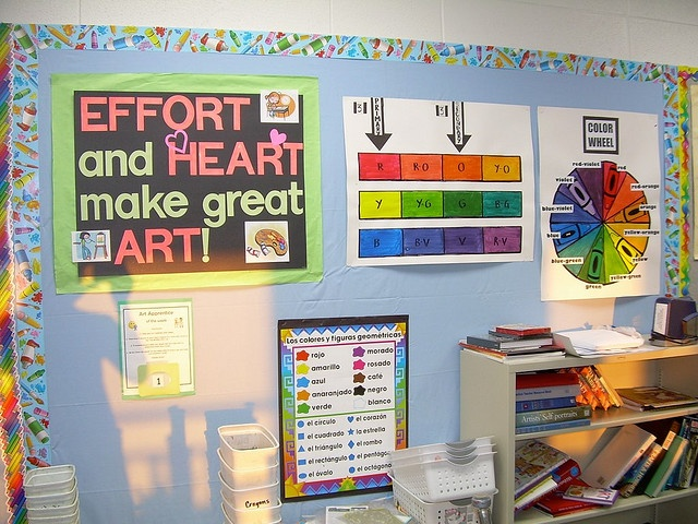 I like the primary secondary poster next to color wheel-  DSCN7117 by teachingpalette, via Flickr