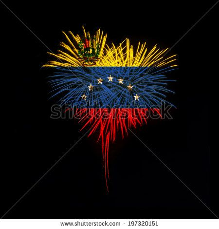 water shaped fireworks | Fireworks in a red heart shape with the flag of Venezuela on a black ...