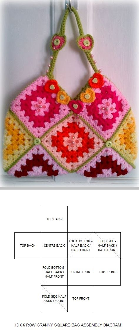 Granny square bag, free pattern by Zelna Olivier of ZootyOwl . . . . ღTrish W ~ http://www.pinterest.com/trishw/ . . . . #crochet #purse #tote